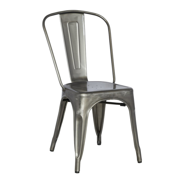 Classic Cafe Galvanized Steel Side Chair | Confer Australia   Direct Buy  Deals